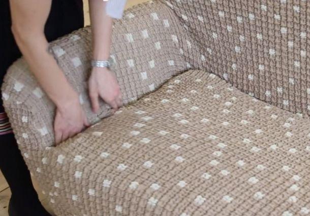 Монтаж чехла на диван